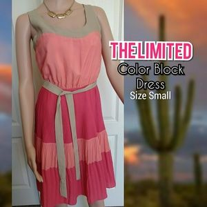 Pleated Color Block Dress by The Limited size S